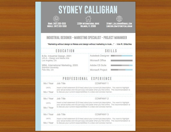 resume cv cover letter the sydney light blue gray