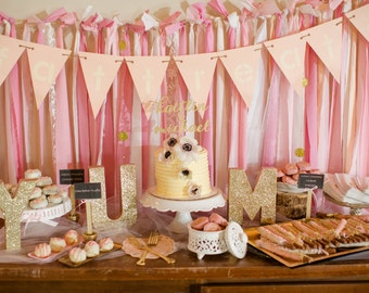 5ft Fabric Wall Backdrop Pink and White /photobooth backdrop/ candy buffet
