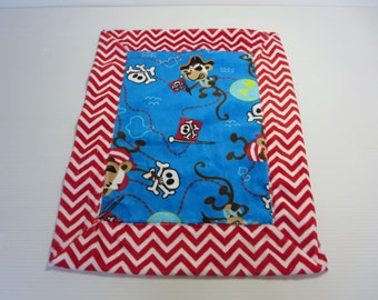 Monkey Pirate Minky Security Blanket (aka Lovey), Red and Blue Drag Along