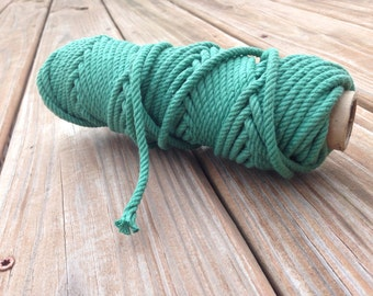 100% Cotton Rope Cord - Kelly Green - 5 YARDS