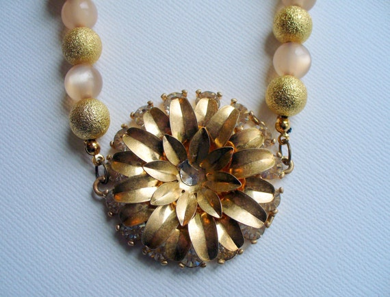Gold Vintage Rhinestone Flower Statement Necklace