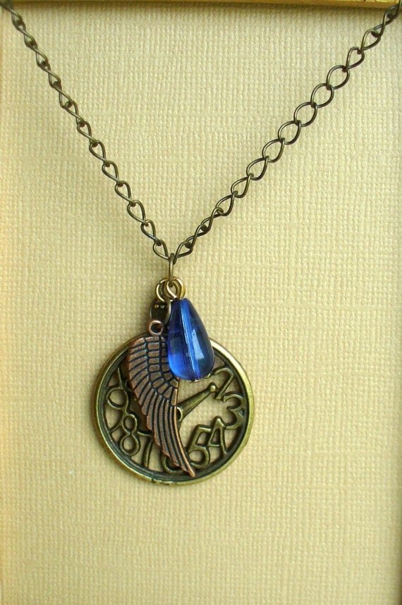 Time Flies Necklace, Open Faced Antique Gold Clock Necklace, Antiqued Copper Wing Necklace,  Blue Teardrop Crystal Necklace