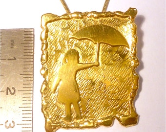 Pendant gold plated  - Girl with umbrella and rain