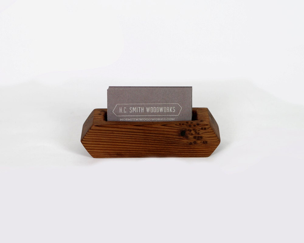 Reclaimed Wood Business Card Holder by hcsmithwoodworks on Etsy