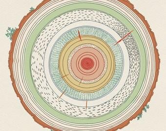 """naif """"naive"""" inspired illustration, limited edition print (trees)"""