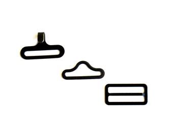 15 sets of Black Hook Eye and Slide Set Bow Tie Bowtie Hardware Kit,diy bow tie hardware