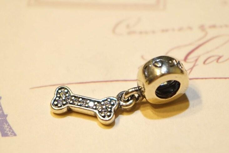 Pandora dangle charm, 925 silver,I LOVE MY DOG bone