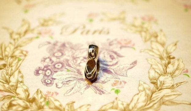 Pandora dangle charm, 925 silver FLIP FLOP clear cz