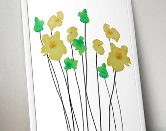 Green & Yellow Watercolor Flowers Wall Art Print- 8x10 PDF Instant Download