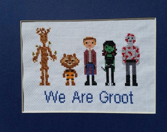 Guardians of the Galaxy Family Portrait Finished Cross Stitch