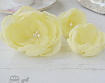 Yellow Hair Flower - Lemon Bridesmaids - Yellow Hair Clips - Pale Yellow - Bridesmaid Hair Clip - Yellow Wedding - Yellow Flower Girls