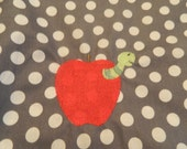 Apple with Gray and White Polka Dots Chair Pocket (1 Chair Pocket - You Pick the Wording)