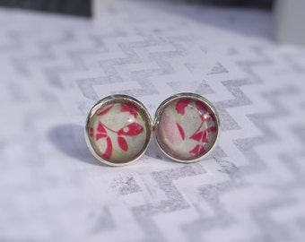Floral Design Green and Orange Print Glass Stud Earrings