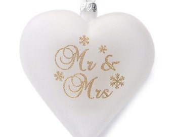 Personalised Frosted Glass Heart - Mr & Mrs