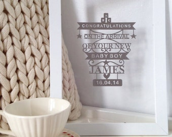 Lasercut personalised new baby gift - Baby Boy (framed)