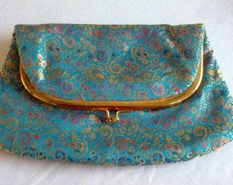 1940's Blue Silk Clutch Bag