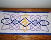 Table Runner/ Wall Banner Purple Batik Celtic Knot Table Decor