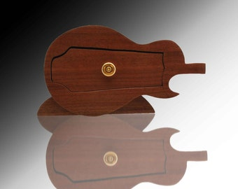 Guitar Pick Pocket  Solid Walnut Wood Band Saw Jewelry Box Heritage Guitar