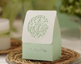 Wedding Favor Boxes, Wedding Favors for guest,  Wedding Supplies, Gift  Boxes,  Sweet Candy Box, Party Favor Box (Wedding Day Mint Green)