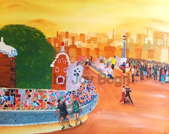 Original acrylic painting Barcelona, Large wall art, Colorful Cityscape wall art, Modern painting, Home decor, wall hanging, huge painting