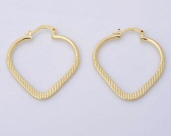 14K Solid Yellow Gold Filled Hoop  Earrings