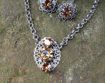 Swarovski filigree pendant and earring set