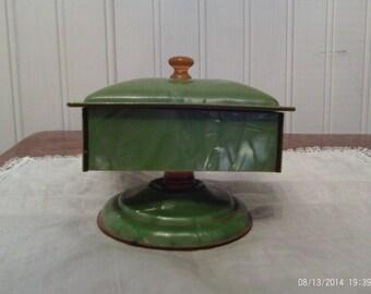 Vintage Celuliod Jewelry/Trinket Box Green with gold knob