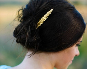 Feather Hair Clip Gold Feather Hair Pin Woodland Chic Bobby Pin Autumn Wedding Hair