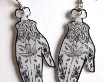 Hands, reasons bird and dagger earrings