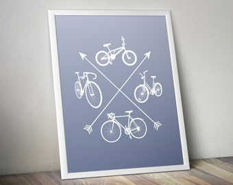 Four Bicycles Poster - Morning Mist Edition : Bike art, bike poster, bike silhouette, bicycle art