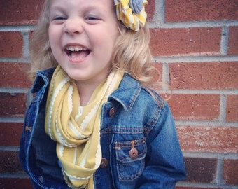 Children's Infinity Scarf Scalloped Stripe Mustard Yellow Coral Gray Light Pink