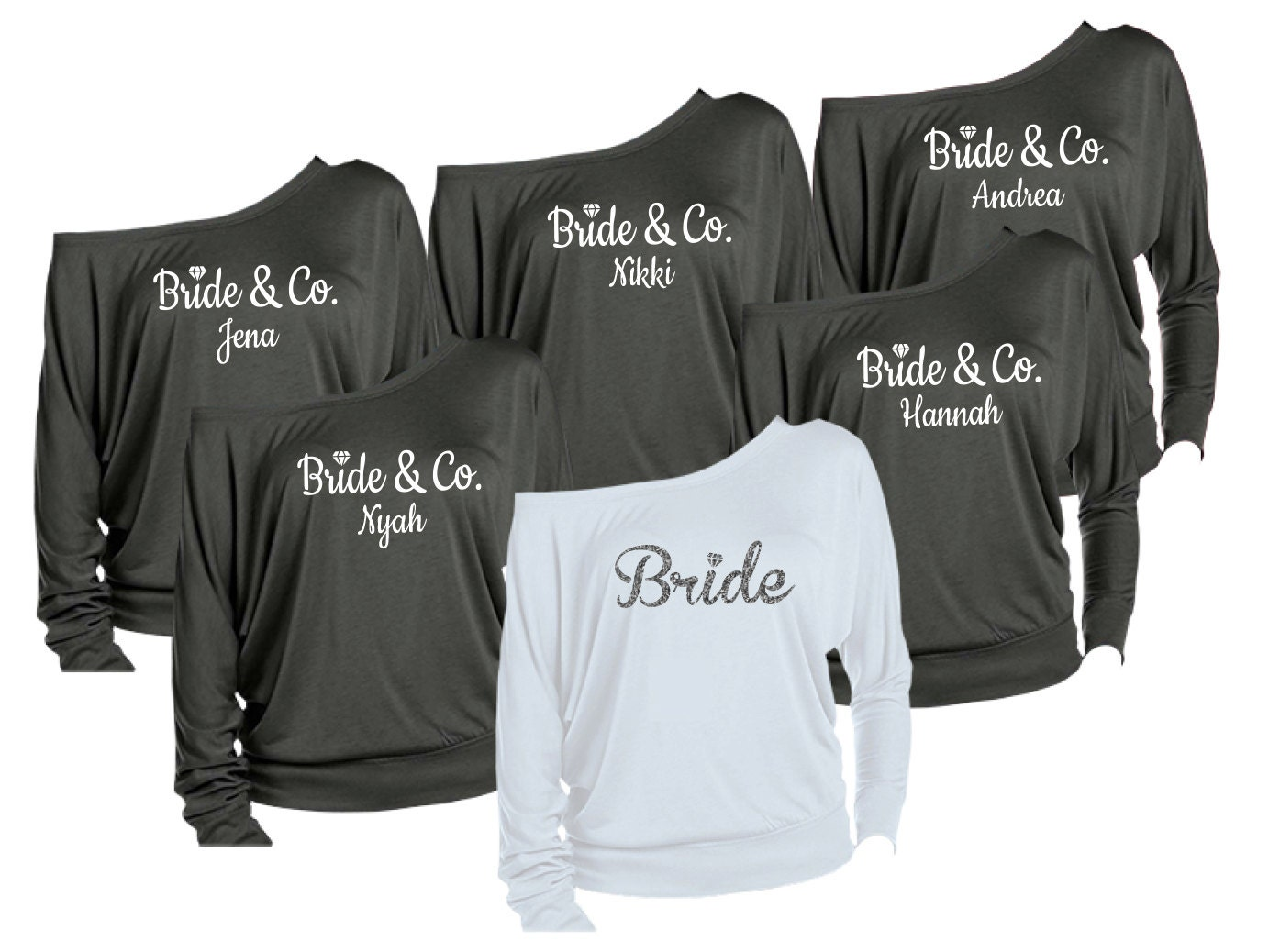 Wedding Bridesmaids Shirts 6 personalized bridesmaids shirts brides maid of