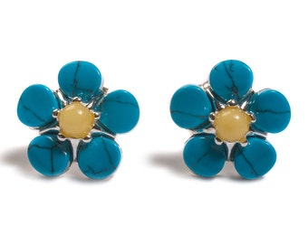 Henryka Milky Amber & Turquoise 'Forget- Me- Not' Flower Stud Earrings