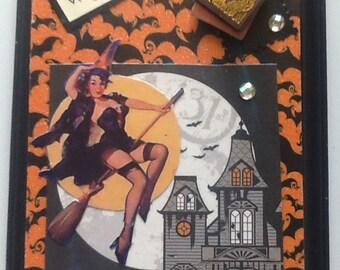 Elvgren Pin-Up Witch Halloween Collage, Gil Elvgren, Pin-Up, Halloween, Witch, Haunted House, Coupon Code SpringSale2017