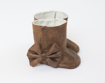 Baby Boot Baby Girl Boot Toddler Girl Boot Soft Sole Boot Fall Boot Winter Boot Brown Faux Leather Boot Baby Girl Boot Brown Boot