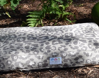 Large Animal Print Dog Bed ||   Large Grey Chenille Neutral  Custom Pillow Cover || Embroider with Name || Pet Gift by Three Spoiled Dogs