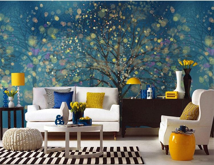 zoom. Fantasy Forest Wallpaper Wall Mural Art Bedroom Midnight Dark
