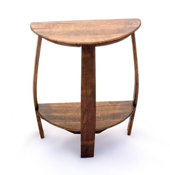 half round wine barrel end table. Black Bedroom Furniture Sets. Home Design Ideas