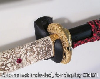Custom 3D Printed Katana Sheathed Sword Wall Hanger Display Black