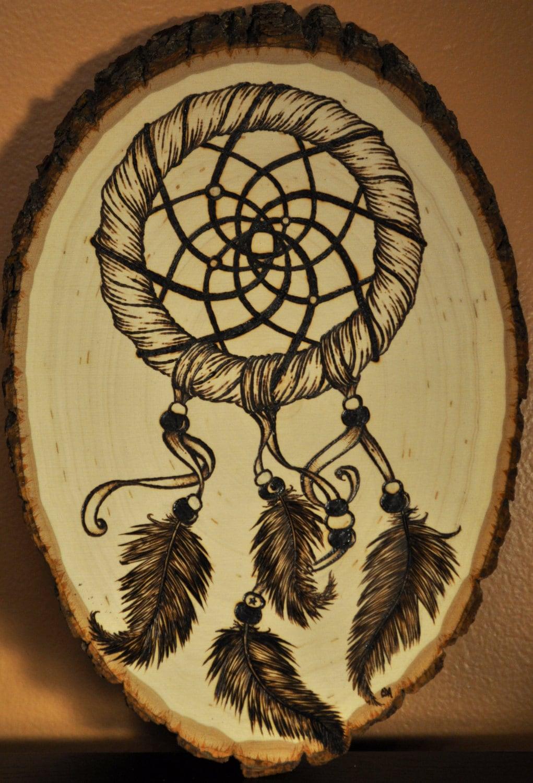 Original Woodburning Art Dream Catcher Done On Oval Shaped