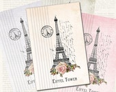 Printable Vintage Shabby Chic Paris Cards 6.67 x 4.33 inch instant download
