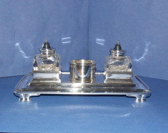 Antique Silverplate Double Ink stand with two crystal bottles FREE SHIPPING