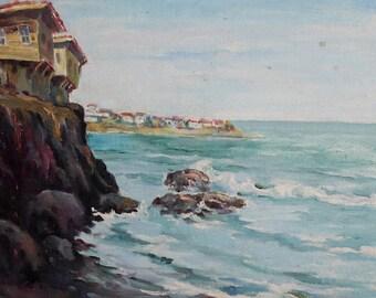 European art oil painting seascape 1982 signed