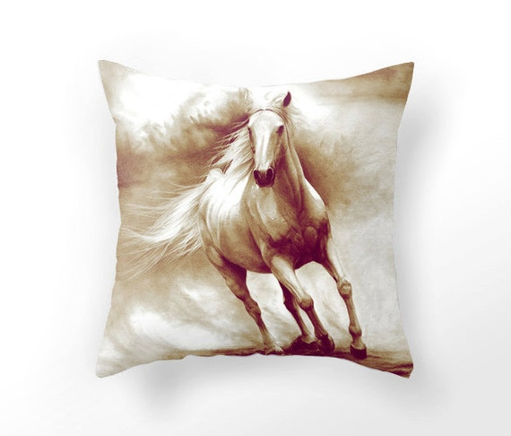Decorative Horse Pillows : Horse in sandstorm pillow DECORATIVE THROW PILLOW by UniqueArtHome