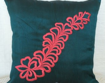 Teal Decorative Pillow Covers, Accent Pillow, Couch Toss, Decorative Throw Pillow, 18x18 inch pillowcase, Neon pink throw pillow, Home Décor