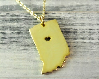 I  heart  Indiana  Necklace Indiana pendant 18K gold plated state necklace state pendant map pendant  hammered state necklace map jewelry