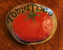 Painted rock, tomatoes garden marker for vegetable garden, yard decoration, tomato label,