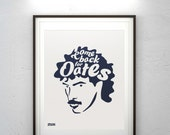 Come Back For Oates – Navy On Gray – Pop Art Print on Archival Quality Matte Cotton Stock