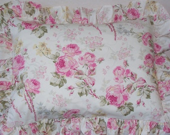 Vintage Fabric Pillow Sham and Feather Insert