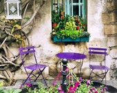 Paris Photography, Cafe Photo, Paris Decor, French Garden, Bistro Art, Purple Table, Wall Art, Paris Print, Square Photograph, Kitchen Art